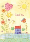 Thank you - Child - Giant Flowers and House